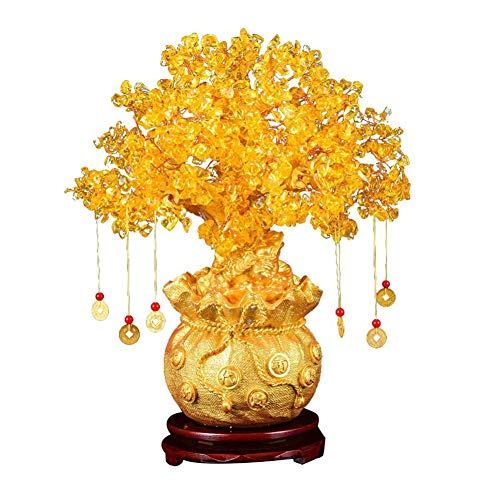 Feng Shui Citrino Albero di Denaro Cristallo Naturale Bonsai Stile Albero di Denaro Fortunato Albero di Feng Shui Albero di Denaro con Le Monete di Ricchezza,Giallo