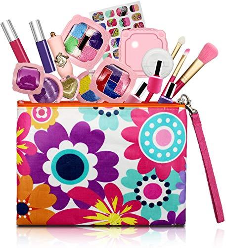 Afufu Kit de Maquillaje Niñas, 19 PCS Juguetes para Chicas Maquillaje Infantil Set, Juegos Niña 3 4 5 6 7 8 + Años Regalos Princesa para Niños Cumpleaños Navidadde (No Cosméticos Reales)
