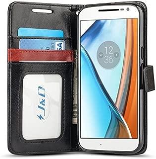 J&D Case Compatible for Moto G4 Case/Moto G4 Plus Case, [Wallet Stand] [Slim Fit] Heavy Duty Shock Resistant Flip Cover Wallet Case for Motorola Moto G4/G4 Plus Wallet Case - [Not for Moto G4 Play]