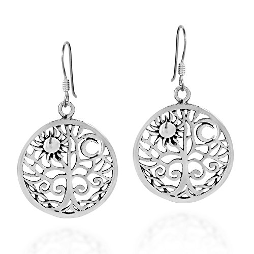 Sunshine and Moon Celtic Swirl Tree of Life .925 Sterling Silver Dangle Earrings