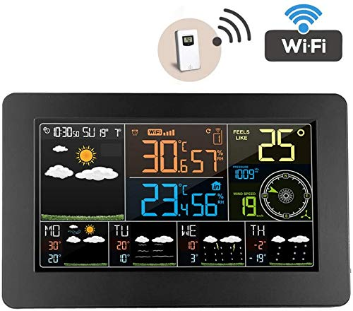 Estación Meteorológica WiFi con Sensor Exterior Wireless- Temperaturer Higrómetro Barómetro Anemómetro 6 Clases Previsión del Tiempo Reloj Despertador Pantalla 12 Fase De La Luna Digital
