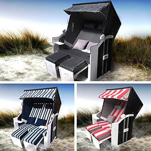 BRAST Strandkorb Sylt 2-Sitzer für 2 Personen 115cm breit rot grau weiß gestreift extra Fußkissen incl. Abdeckhaube Gartenliege Sonneninsel Poly-Rattan