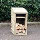 Signs & Numbers Wooden Log Store, with Kindling Shelf, Fully Assembled, Narrow for Smaller Gardens, Outdoor Firewood Storage Keeps Your Logs Tidy and Dry 54 x 46 x 90 Centimetres