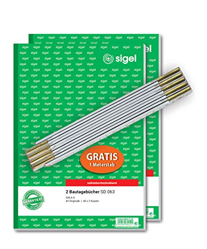 SIGEL SY281 Aktion: 2 Bautagebücher A4 (SD063), 3x40 Blatt, selbstdurchschreibend und gratis Meterstab