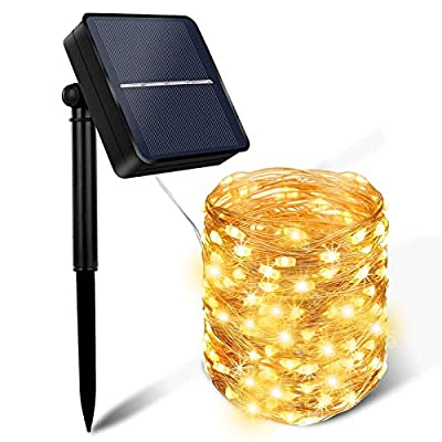 Solar String Lights Outdoor , MOLAIER Solar Lights Outdoor 100LED 33FT 8 Modes Bigger Solar Panel Waterproof Outdoor String Lights for Christmas, Party, Wedding Decoration