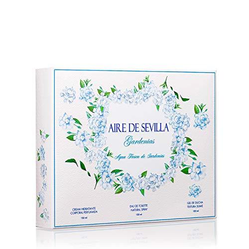Aire de Sevilla Gardenias Set Perfume para Mujer - EDT, Crema Perfumada y Gel Exfoliante