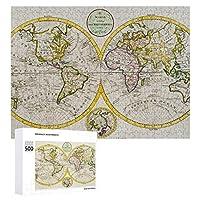 INOV 旧式な世界地図 撃たれるスタジオ ジグソーパズル 木製パズル 500ピース キッズ 学習 認知 玩具 大人 ブレインティー 知育 puzzle (38 x 52 cm)