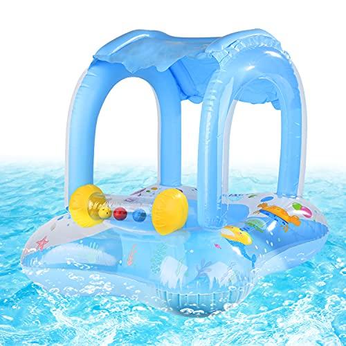 FORMIZON Baby Schwimmring, Aufblasbares Schwimmen Ring, Aufblasbarer Schwimmhilfe mit Sonnendach und Schwimmsitz, Baby Pool Schwimmring für Kinder Jungen Mädchen(Blau)