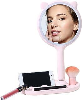 Make-up spiegel op standaard, ijdelheid spiegel met verlichting voor make-up make-up bureau spiegel - met LED-verlichting ...