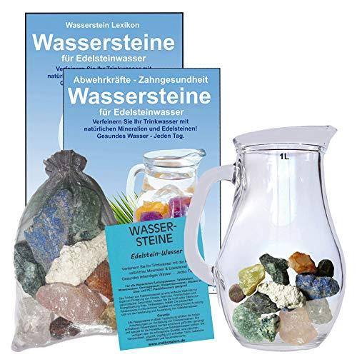EDELSTEIN WASSER HERZ & KREISLAUF 5-tlg SET. 300g WASSERSTEINE zur Wasseraufbereitung für Trinkwasser + 1,0 L Glaskrug Karaffe + Anleitung + Zubehör. 90041-2