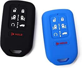 (Pack of 2) Black Blue 7 Buttons Key Fob Cover Case Fits 2018 2019 Honda Odyssey Elite Ex Smart Keyless Remote Driver 2