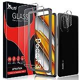 TAURI 4 Pack Protector de Pantalla Xiaomi Poco F3/Xiaomi Mi 11i 5G Protector de Pantalla, 2 Pack Cristal Vidrio Templado y 2 Pack Protector de Lente de cámara, Doble Protección