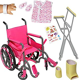 Doll Wheelchair Set with Accessories for 18 Inch Dolls Like American Girl Dolls + Bonus Accessories