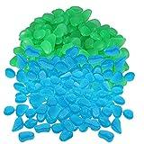 WANWE 400 Piezas de Guijarros Brillantes Que Brillan en la Oscuridad Piedras Rocas Adoquines Luminosos o DecoracióN de Senderos de JardíN (Azul Verde)