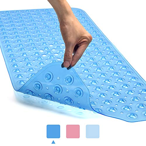 Yueetc Bath Tub Shower Mat 40x16 Inch Non-Slip and Latex Free,Bathtub Mat with Suction Cups, Machine Washable Bathroom Mats with Drain Holes (Blue,...