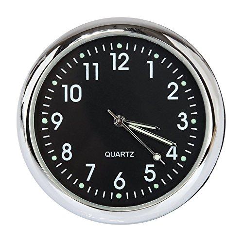 Anki Car Dashboard Clock Table Classic Small Round Analog Quartz Clock,High and Low Temperature Resistance (Luminous-Black)