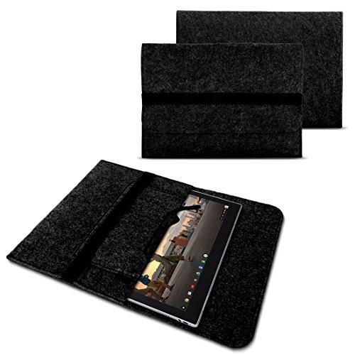 NAUC Sleeve Hülle für Lenovo Miix 310 320 300 10,1 Zoll Notebook Tasche Laptop Cover Case strapazierfähiger Filz mit Innentaschen und sicherem Verschluss Grau, Farbe:Dunkelgrau