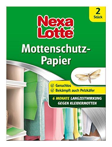 Nexa Lotte Mottenschutzpapier, Schützt effektiv bis zu 6 Monate vor Kleidermotten und Pelzkäferlarven, 2 Streifen