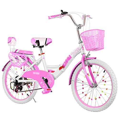 CXSMKP 20 Inch Bicicletas Plegables Adulto,6 Velocidades V Freno,Ligero Marco De Hierro, Plegable Moma Bikes Compacta con Antideslizante Y Resistente Al Desgaste Neumático (Rosa,con Canasta),Blanco