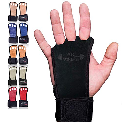 Gymnastics Grips - Gloves for Crossfit - Workout Gloves with Wrist Wraps - Weight Lifting Gloves - Gym Gloves for Pull Up - Fitness Hand Grips - Calisthenics Equipment (Medium, Black - Suede Leather)