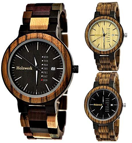Handgefertigte Holzwerk Germany® Matrix Herren-Uhr Öko Natur Holz-Uhr Holz Armband-Uhr Braun Schwarz...