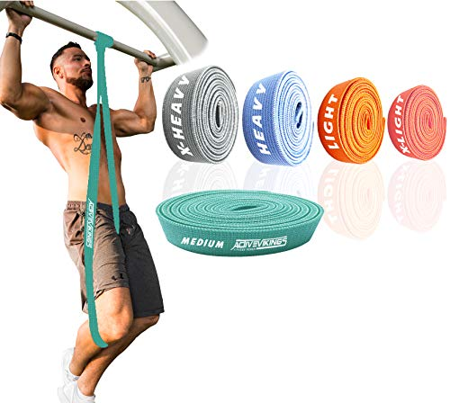 ActiveVikings® Pull-Up Stoff Fitnessbänder - Perfekt für Muskelaufbau und Crossfit Freeletics Calisthenics - Fitnessband Klimmzugbänder Widerstandsbänder (C - Grün (Medium))