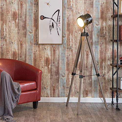 Staande lamp Café massief houten vloerlamp eenvoudige Creative Searchlight woonkamer slaapkamer retro industrie wind massief hout statisch lamp Zwart