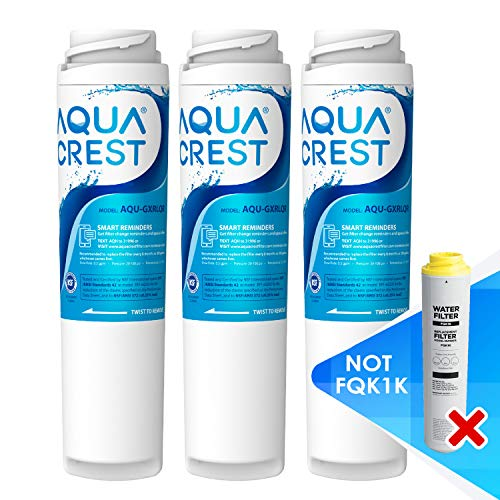 AQUA CREST GXRLQR Undersink Inline Water Filter, Reduces Chlorine, Taste&Odor, Compatible with GE SmartWater Twist and Lock in-Line GXRLQR Water Filter (Pack of 3)