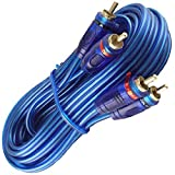 American Terminal Audio 20 Ft 2 Ch Blue Twisted Car Amp RCA Jack Cable Interconnect 20ft