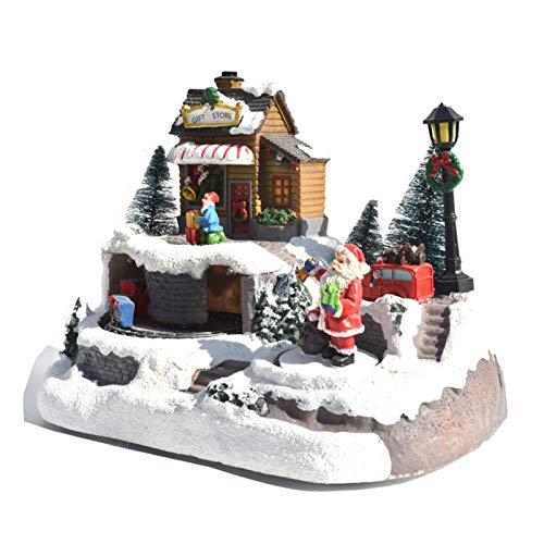 絶妙な樹脂のクリスマスハウス、USBとバッテリーのデュアル電源を備えたレジンクリスマスシーンカントリーハウスタウン-クリスマスデコレーション/ギフト/コレクタブル,B