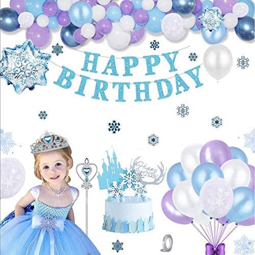 Korins Decorazioni di Compleanno per Bambini, Set di Forniture per Feste a Tema Congelate Banner di Buon Compleanno Fiocco di Neve Palloncini in Lattice Adesivo per Torta Principessa Tiara Bacchetta