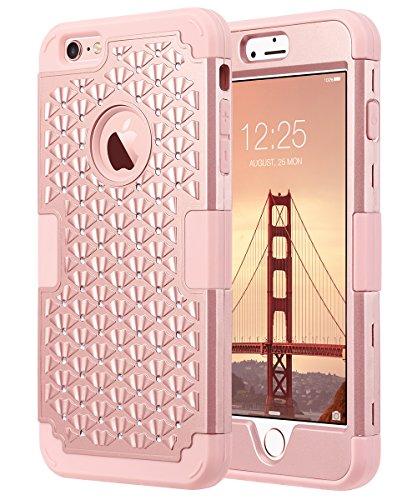 ULAK Capa Para iPhone 6 Plus, Capa Para iPhone 6S Plus Com Brilho, Bling Rhinestone Heavy Duty Híbrido À Prova De Choque Para PC Macio Capa Protetora De Silicone Para iPhone 5,5 Polegada,Rosa Dourado