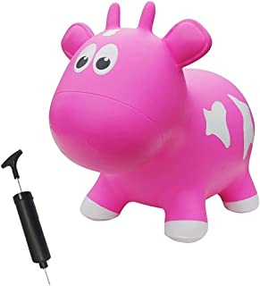Farm Hoppers Award Winning Inflatable Toddler Safe Bouncing Pink Cow Plus Pump