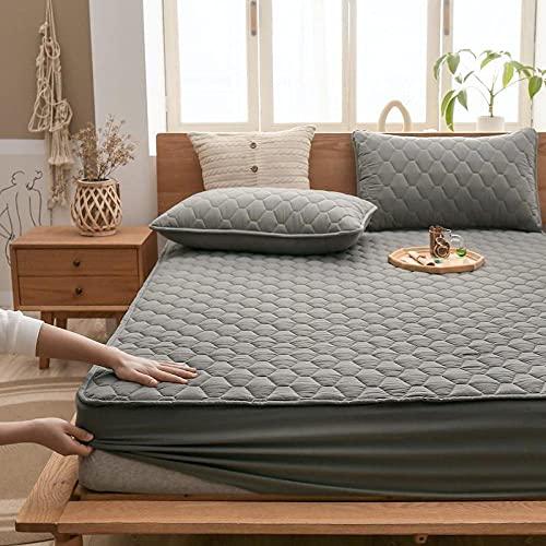 YFGY Sabana Bajera Ajustable fácil Lavado. 180 * 200 cm, Protector de colchón de algodón Lavado de Color sólido, sábanas Impermeables para Dormitorio, Hotel, Super King, Verde 1