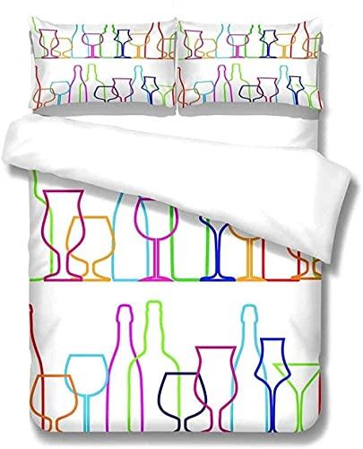 Juego De Ropa De Cama De 3 Piezas Botella De Copa De Vino Creativa para Todas Las Estaciones para La Decoración del Hogar para Adolescentes Y Adultos Ropa De Cama De Microfibra Ultra Suave-230X220Cm