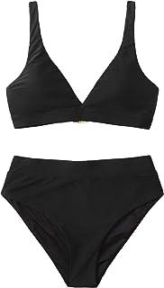 Floerns Women's High Waisted Swimsuit V Neck Push Up Two Piece Bikini Set