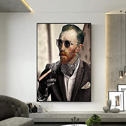 HHLSS Impresión en Lienzo 70x90cm sin Marco Arte Divertido Van Gogh con Gafas de Sol Fuma Carteles de cigarros Impresión en Lienzo Imágenes artísticas de Pared para la decoración de la Sala de Estar