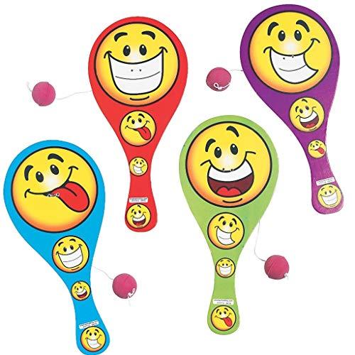 Elfen und Zwerge - Paddleball - Smiley Spiel - Mitgebsel für Kindergeburtstag - Geschicklichkeitsspiel - 6 Stück