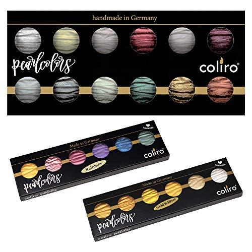 Coliro Watercolor Set – Set of 24 Colors – Pearl (23mm/Jar), Rainbow & Metallic Paints (30mm/Jar)