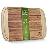 """Large Bamboo Cutting Board for Kitchen - Natural Condensed Bamboo Chopping Board is Cleaner and Prolongs Knife Life   Chop Hot and Cold Foods- Won't Warp Splinter or Crack   18"""" x 12"""""""