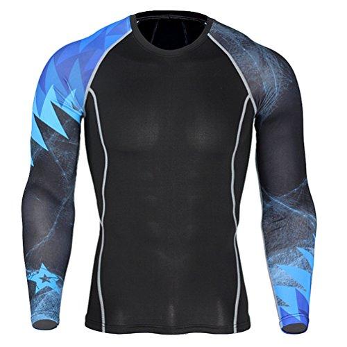 YiJee Uomo Asciugatura Veloce Tops Manica Lunga Tight T-Shirt Sports Fitness Training Compressione Come Immagine10 XL