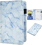 Server Books for Waitress - Marble Texture Leather Waiter Book Server Wallet with Zipper Pocket, Cute Waitress Book&Waitstaff Organizer with Money Pocket Fit Server Apron(Blue)