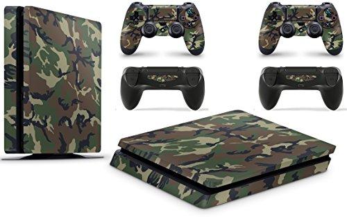 giZmoZ n gadgetZ GNG PS4 Slim Konsolen-Gehäuseaufkleber, Motiv: Tarnung inklusive 2er-Set mit Aufklebern für Controller