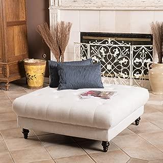 Christopher Knight Home Parisian Fabric Ottoman Footstool Coffee Table, Eggshell