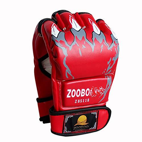 ZooBoo MMA Handschuhe, Halbfinger MMA Boxhandschuhe mit verstellbarem Handgelenkband, UFC Handschuhe für Kampfsport, Sanda, Sparring, Boxsack-Training