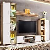 Festnight Fernsehschrank TV-Wohnwand mit LED-Leuchten Sonoma Eiche und Weiß
