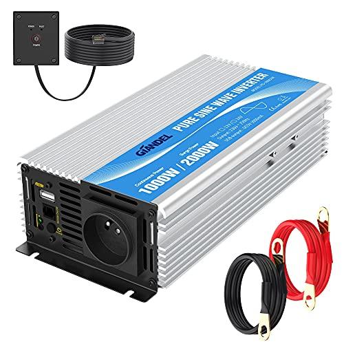 Convertidor de onda Sinus de 12 V 220 V, 1000 W, 230 V, 240 V, transformador de onda sinusoidal pura con mando a distancia con tomas de corriente AC y 2,4 A puerto USB para RV, coche de camión GIANDEL