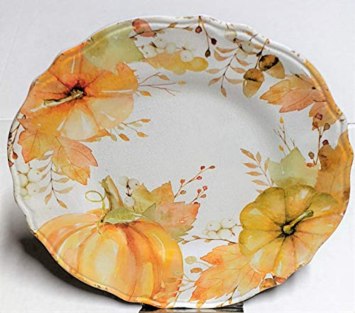 "The Prairie Fall Harvest Pumpkins with Autumn Leaves and Acorns 100% Melamine Dinner Plates 11"" Diameter"