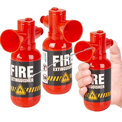 ArtCreativity Mini Fire Extinguisher Squirter Toys, Set of 3, 4.25 Inch Water Extinguisher with Realistic Design, Fun Outdoor Summer Toys, Great Fireman Toys for Kids, Novelty Gag Gift Item