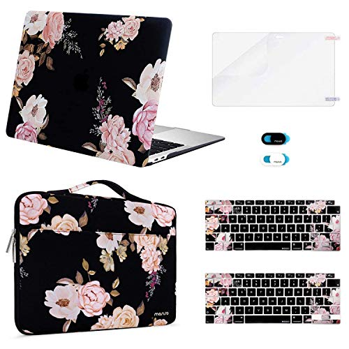 MOSISO MacBook Air 13 inch Case 2020 2019 2018 A2337 M1 A2179 A1932 Retina, Plastic Hard Shell & Sleeve Bag & Keyboard Cover & Webcam Cover &Screen Protector Compatible with MacBook Air 13, Pink Peony